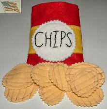 felt food play toys 8 POTATO CHIPS AND 1 BAG with velcro children kid pretend