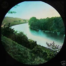 HAND COLOURED Glass Magic Lantern Slide RIVER THAMES NO18 C1890 PHOTO ENGLAND