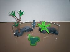 Playmobil Asian Zoo 4852 Rock Formation Enclosure Fence 2 Sections Pond Lot
