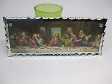 "Rare Vintage LAST SUPPER of Jesus Christ Small 10"" Wall Mirror w Beveled Edges"