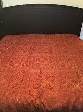 """Indian Hand-Embroidered Orange/Red Mirror Tapestry Bed Cover 96""""x76"""""""