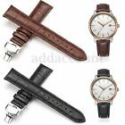 Men Genuine Leather Strap Butterfly Deployment Clasp Watch Band 16/18/20/22/24mm