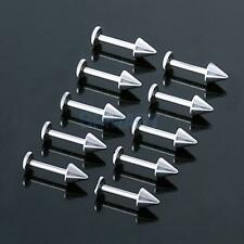 lot 10Pcs 316L surgical steel Spike Bar Lip Chin Labret Ring Stud Body Piercing