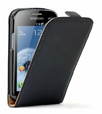 Ultra Slim BLACK Leather case cover for Samsung Galaxy S Duos GT-S7562 +2 FILMS