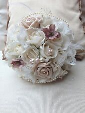 VINTAGE  IVORY CHAMPAGNE BRIDE ROSES POSY BOUQUET PINK LACE GYP WEDDING FLOWERS
