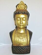 "13.75"" Antique ? Chinese Bronze or Brass Bust of BUDDHA or Kwan-Yin with 4 Marks"