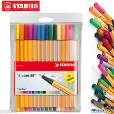 STABILO Fineliner Point 88  Ballpoint art Pens,10 standard + 5 Neon Wallet of 15
