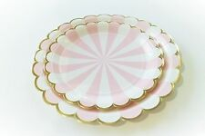 Tableware Set Pink White & Metallic gold paper plates cups napkins straws for 8