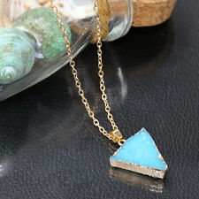 Gemstone Necklace Natural Crystal Mint Quartz Stone Triangle Pendant Jewelry