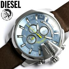 New Diesel DZ4281 Mega Chief Blue Dial Brown Leather Men's Watch With Diesel Box