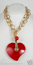Nusarelos massive red heart stone pendant w/ball mat gold necklace
