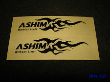 2 SMALL AUTHENTIC ASHIMA DISC BRAKES BLACK LOGO STICKERS / DECALS AUFKLEBER
