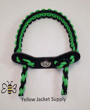 Archery Paracord Bow Wrist Sling Green / Black 7 hole Leather Yoke