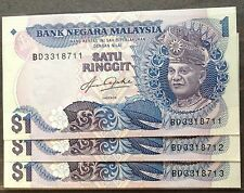 Rm 1 Aziz Taha 5th series Bradbury cons nos 3 pcs 1982 unc