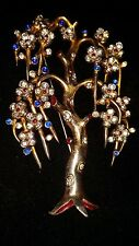 Trifari Alfred Philippe Blossoming Weeping Willow Tree Jeweled Gold Tone Brooch