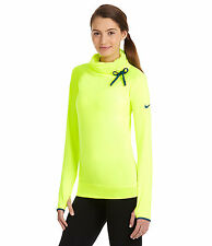 NWT Nike Pro Hyperwarm Hybrid Women's Training Side Tie Top Shirt XS 604947 VOLT