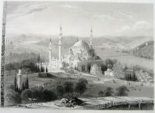 ISTANBUL SULEYMANIYE MOSQUE ~ Old 1839 Ottoman Architecture Art Print Engraving