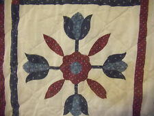 MACHINE MADE QUILT, BLUE & BURGUNDY TULIPS, FLOWERS - FULL SIZE - #51