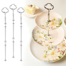 1Aets Silver 3 Tiers Plates Cake Stand Fittings Handle Rod Royal Crown Patterns