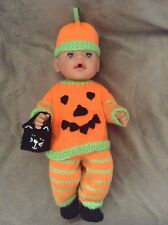 KNITTING PATTERN - Halloween pumpkin costume fits 15 - 18 in baby born doll