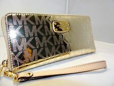 MICHAEL KORS JET SET TRAVEL MIRROR CONTINENTAL TRAVEL WALLET WRISTLET PALE GOLD