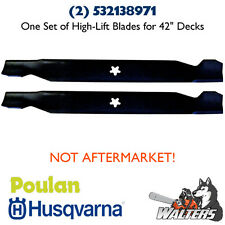 "(2) Genuine Husqvarna 532138971 High-Lift Blades for 42"" Deck (NOT AFTERMARKET)"