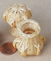 1:12 Scale Single Bamboo Basket Dolls House Miniature Garden Shop Accessory ZC