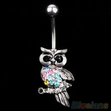 Rhinestone Owl Dangle Ball Barbell Bar Belly Button Navel Ring Body Piercing