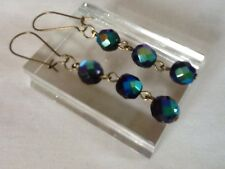 CARNIVAL Glass Con Perline Dangle Earrings Nero PAVONE Rainbow Perline Vintage 50s