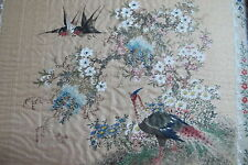 Antique Chinese Hand Painted on Silk Floral with Birds Framed Artist Signed