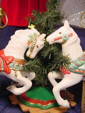Lot of 2 Porcelain & Brass CAROUSEL Horses Ponies CHRISTMAS ORNAMENTS white pony
