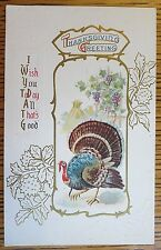 1912 EMBOSSED ANTIQUE THANKSGIVING POSTCARD, TURKEY, GRAPES, GOLD ACCENTS