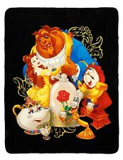 "Disney Beauty & The Beast Characters Super Plush 48""x 60"" Throw Blanket Gift NWT"