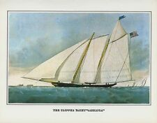 """1978 Vintage """"CLIPPER YACHT AMERICA OF NY NYC"""" CURRIER & IVES COLOR Lithograph"""