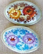 2 Russian traditional lacquered art brooches pins floral flowers hand-painted #7