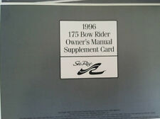 Sea Ray 1996 175 Bow Rider Owner's Manual Supplement Card