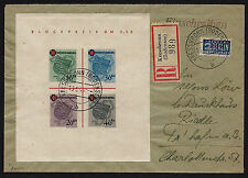 1949 Germany French Zone Red Cross Sheet Sc#5NB4a Registered Cover