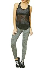 New Womens Crop Top Mesh Lace Fishnet Sporty Gym Yoga Stretch Vest Tank T Shirt