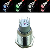 16mm 12V 3A Auto KFZ LKW Schalter Drucktaster Druckschalter LED Beleuchtet