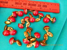20 Vintage cuff links red brass bakelite costume jewelry button slanted art deco