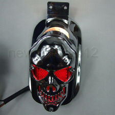 Motorcycle Skull Tail Light Integrated Rear Side Mount Plate For Harley Honda