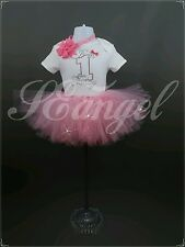 1st birthday girls outfit tutu skirt+vest+headband pink&silver diamante 9-12m A4