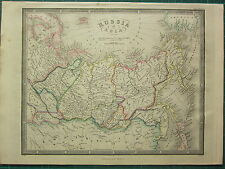 1872 JAMES WYLD MAP ~ RUSSIA IN ASIA ~ SIBERIA TOBOLSK ~ HAND COLOURED