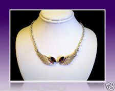PRETTY SILVER ANGEL WINGS PURPLE CRYSTAL NECKLACE PENDANT CHRISTMAS GIFT FOR HER