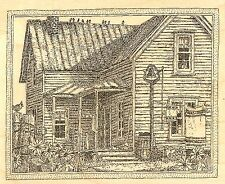 FARM HOUSE COUNTRY DAY Wood Mounted Rubber Stamp IMPRESSION OBSESSION G2510 NEW