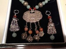 ANTIQUE CHINESE NECKLACE/ EARRINGS AVENTURINE, CARNELIAN, SILVER, BUDDHA  & LOCK