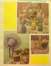 NEW 1984 Simplicity 6776 SEWING PATTERN Primitive Easter Bunny Duck Basket Eggs