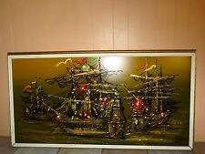 SIGNED MID CENTURY MODERN RETRO VINTAGE 3 SHIP LIGHTED PAINTED WALL ART