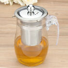 750mL Heat-resisting Clear Glass Teapot Stainless Steel Infuser Tea Leaf Pot