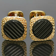 Authentic 1970s VAN CLEEF & ARPELS Black Onyx 18k Yellow Gold Cufflinks